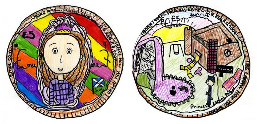 Coin design, Gracemount Primary School, Edinburgh.