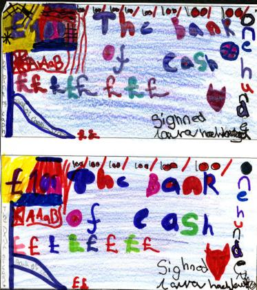 Banknotes designed and forged at Polkemmet Primary School, West Lothian.